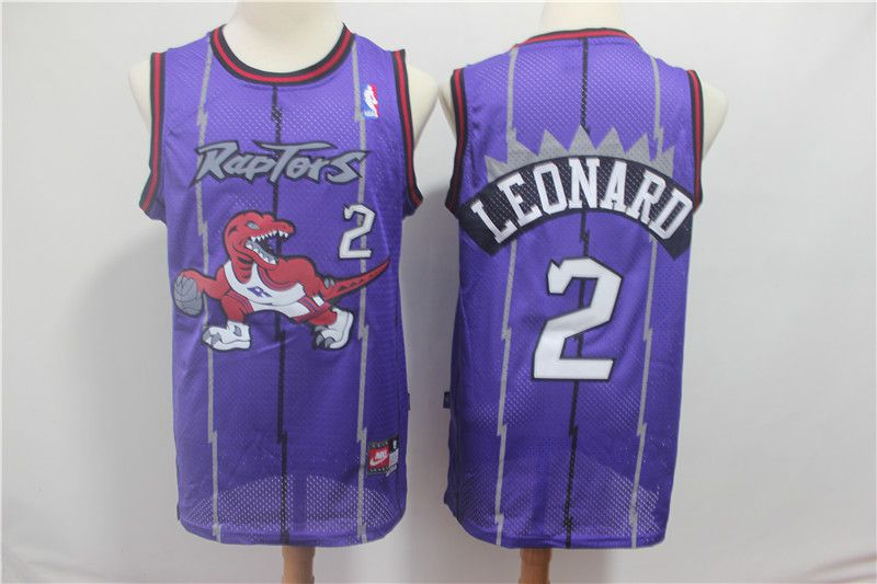 Men Toronto Raptors 2 Leonard Purple NBA Jerseys