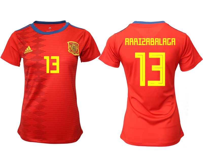 Women 2019-2020 Season National Team Spain home aaa version 13 red Soccer Jerseys
