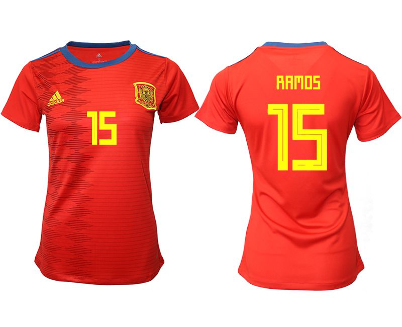Women 2019-2020 Season National Team Spain home aaa version 15 red Soccer Jerseys