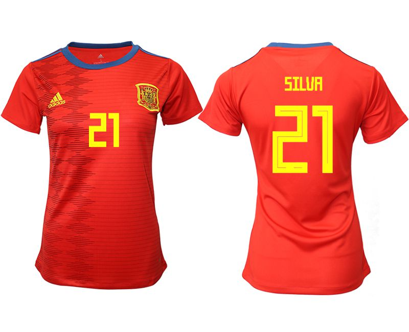 Women 2019-2020 Season National Team Spain home aaa version 21 red Soccer Jerseys
