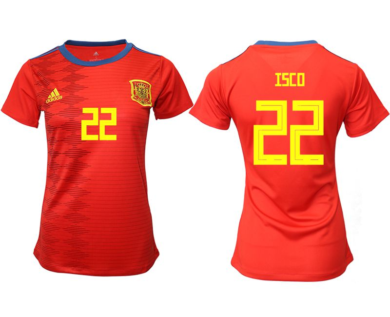 Women 2019-2020 Season National Team Spain home aaa version 22 red Soccer Jerseys