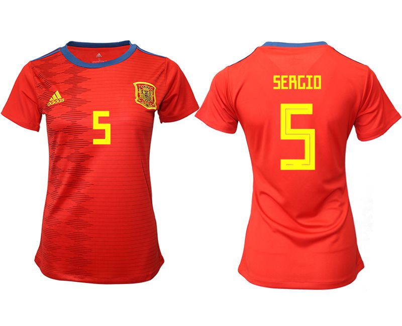 Women 2019-2020 Season National Team Spain home aaa version 5 red Soccer Jerseys