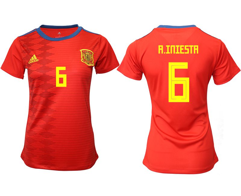 Women 2019-2020 Season National Team Spain home aaa version 6 red Soccer Jerseys