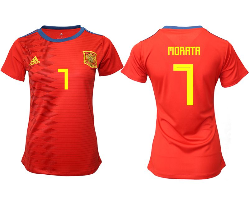 Women 2019-2020 Season National Team Spain home aaa version 7 red Soccer Jerseys
