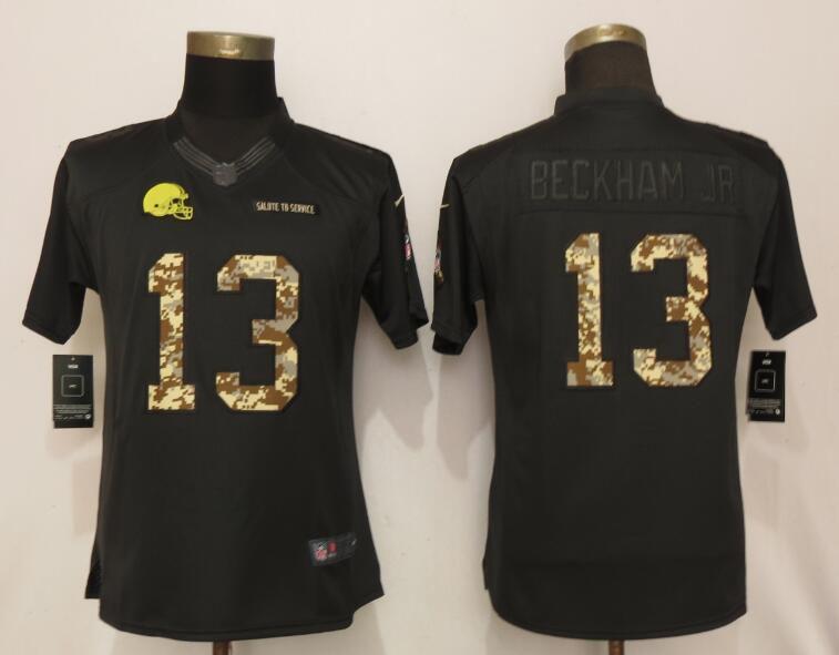 f02d37e13 Women Cleveland Browns 13 Beckham jr Camo Nike Salute To Service Limited NFL  Jersey