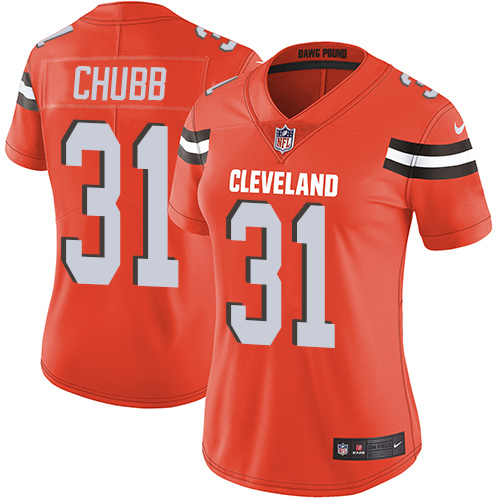 Women Cleveland Browns 31 Nick Chubb Nike Orange Vapor Untouchable Limited NFL Jersey