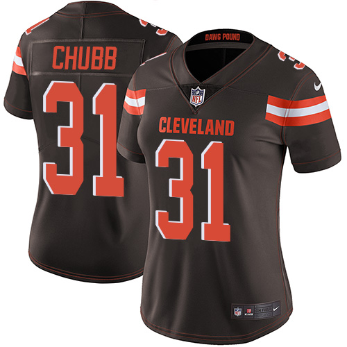 Women Cleveland Browns 31 Nick Chubb Nike brown Vapor Untouchable Limited NFL Jersey