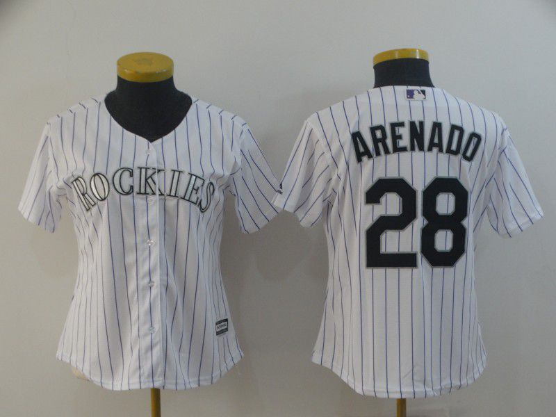 Women Colorado Rockies 28 Arenado White Game MLB Jersey