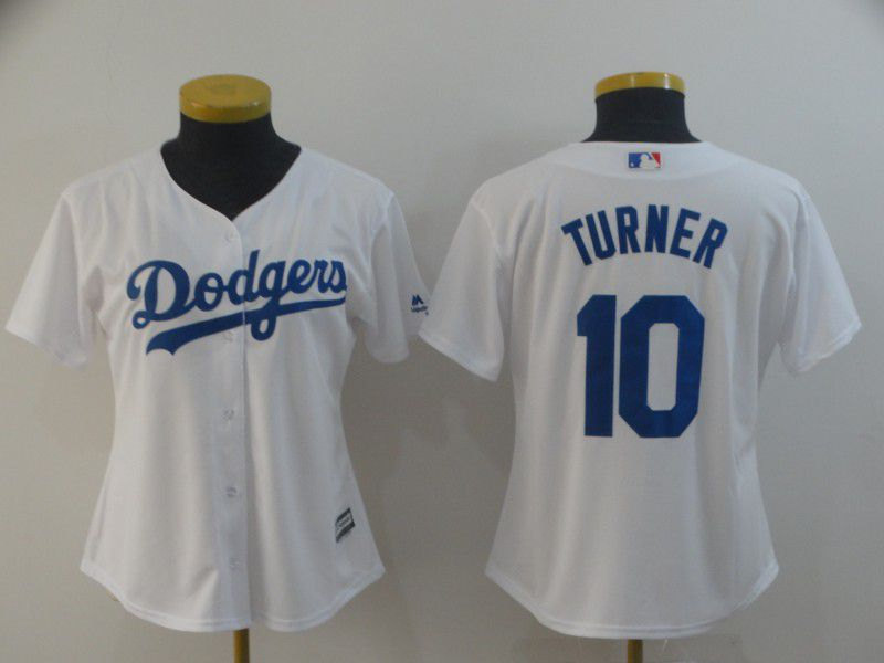 Women Los Angeles Dodgers 10 Turner White Game MLB Jersey