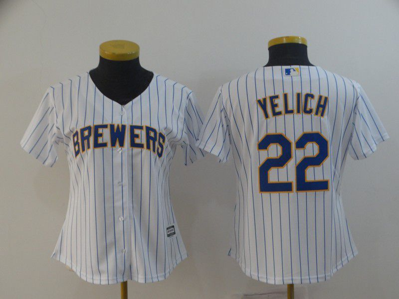 Women Milwaukee Brewers 22 Yelich White Game MLB Jersey