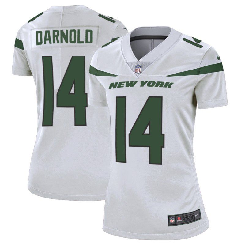 Women New York Jets 14 Darnold White Nike Vapor Untouchable Limited Player NFL Jerseys