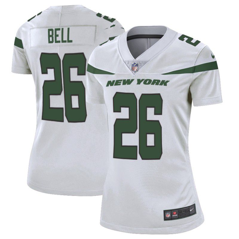 Women New York Jets 26 Bell White Nike Vapor Untouchable Limited Player NFL Jerseys