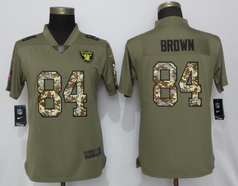 Women Oakland Raiders 84 Brown Olive Camo Carson Salute to Service Nike Limited NFL Jersey