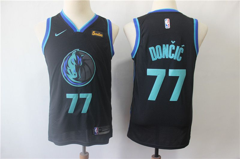 Youth Dallas Mavericks 77 Doncic Black Nike NBA Jerseys