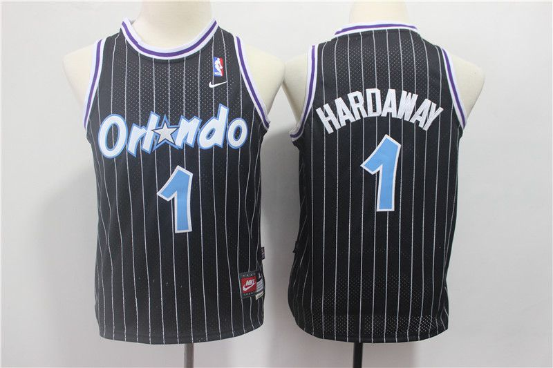 Youth Orlando Magic 1 Hardaway Black Stripe Nike NBA Jerseys