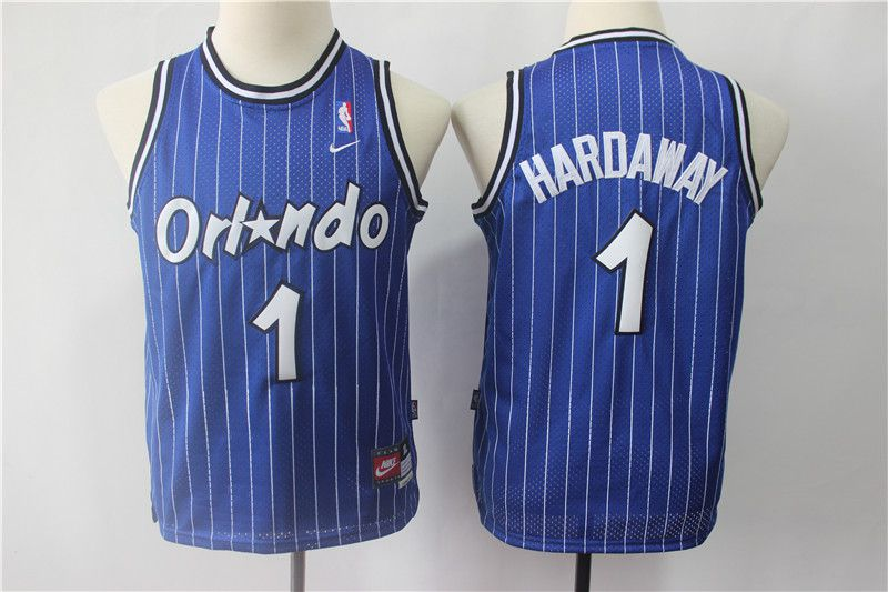 Youth Orlando Magic 1 Hardaway Blue Stripe Nike NBA Jerseys