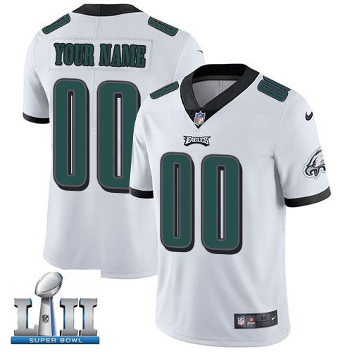 2019 NFL Custom Men Nike Eagles White Super Bowl LII Stitched Vapor jersey