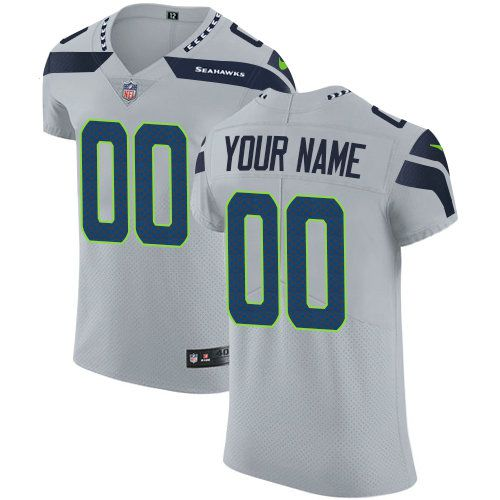 2019 NFL Men Nike Seattle Seahawks Customized Elite Grey Vapor Untouchable jersey
