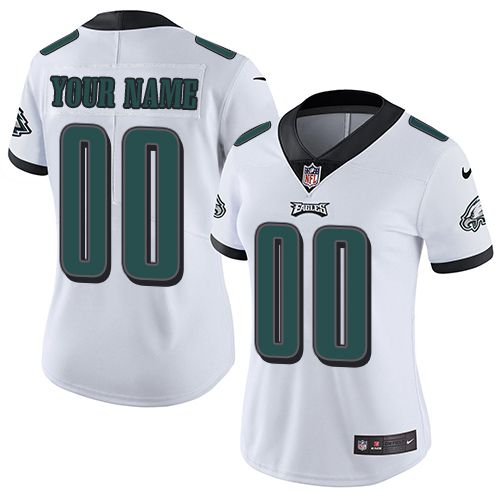 2019 NFL Women Nike Philadelphia Eagles Road White Customized Vapor jersey
