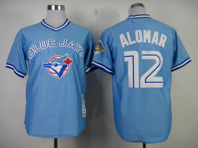 MLB Toronto Blue Jays 12 Roberto Alomar Light Blue Throwback Jerseys