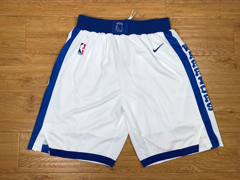 Men 2019 NBA Nike Golden State Warriors white shorts