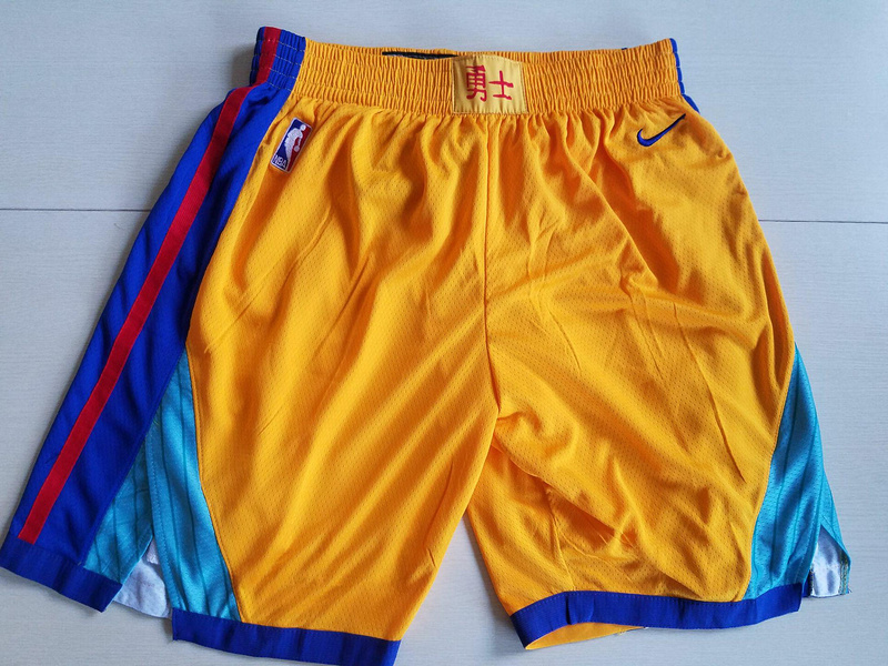 Men 2019 NBA Nike Golden State Warriors yellow shorts style2