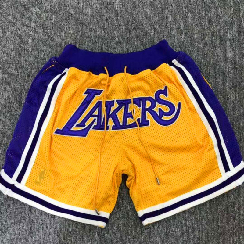Men 2019 NBA Nike Los Angeles Lakers yellow style 2 shorts