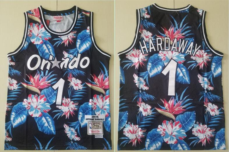 Men 2019 NBA Nike Orlando Magic 1 Hardaway Black fashion Jersey