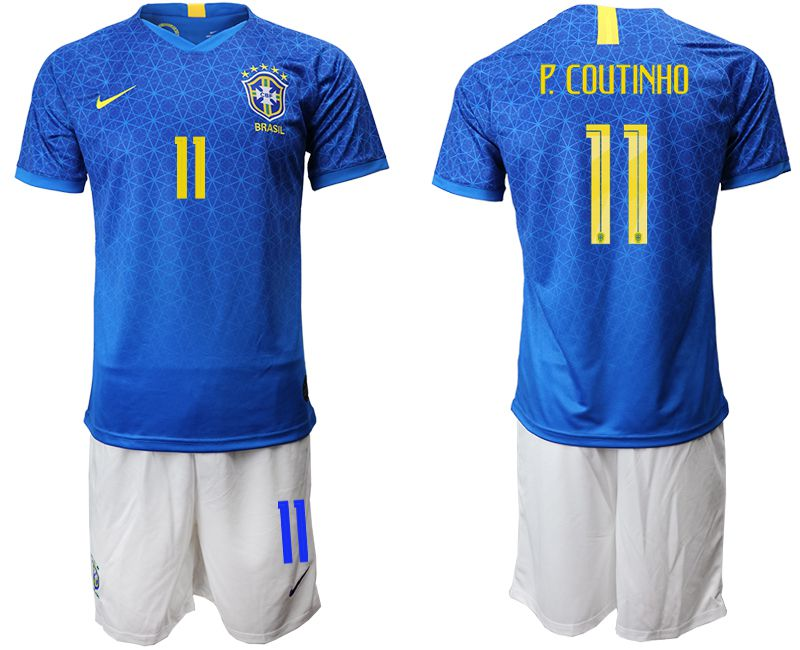 Men 2019-2020 Season National Team Brazil 11 blue Soccer Jerseys