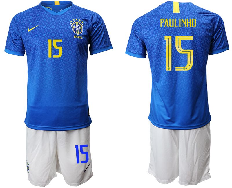 Men 2019-2020 Season National Team Brazil 15 blue Soccer Jerseys