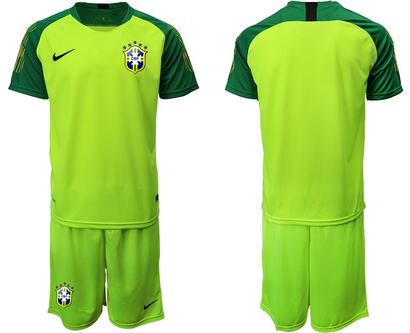 Men 2019-2020 Season National Team Brazil fluorescent green goalkeeper Soccer Jerseys1