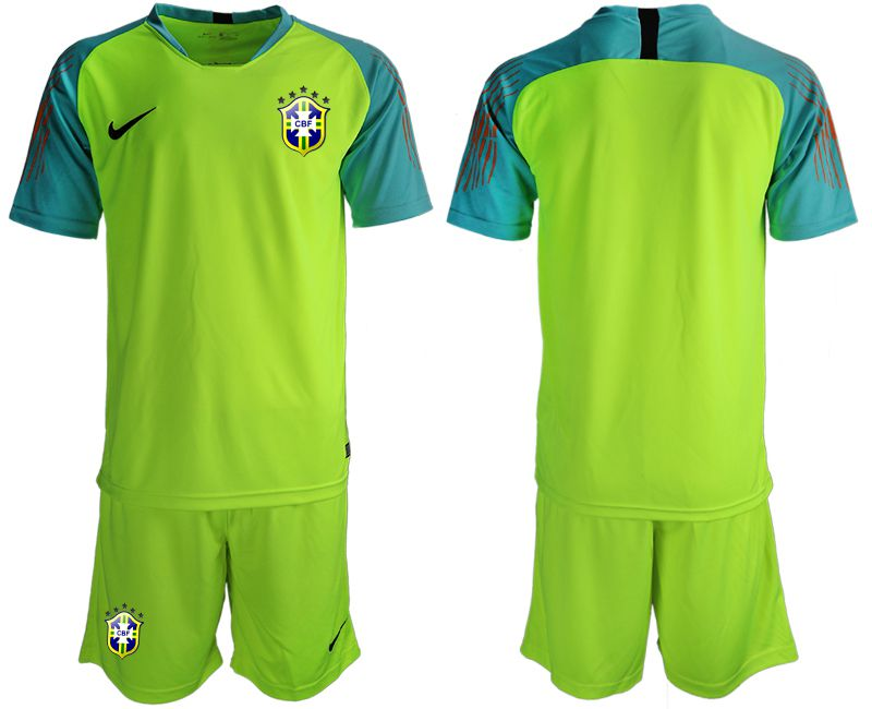 Men 2019-2020 Season National Team Brazil fluorescent green goalkeeper Soccer Jerseys2
