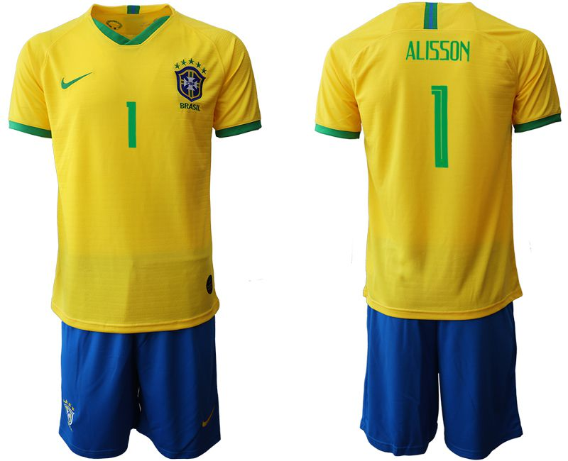 Men 2019-2020 Season National Team Brazil home 1 yellow Soccer Jerseys