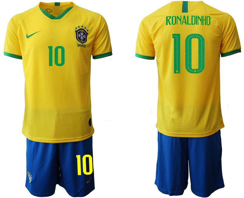 Men 2019-2020 Season National Team Brazil home 10 yellow Soccer Jerseys1