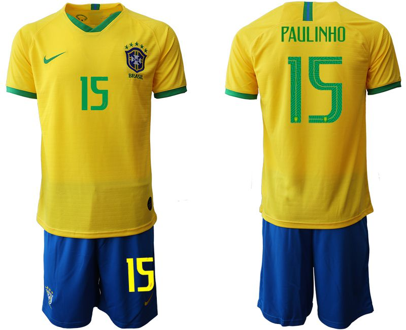 Men 2019-2020 Season National Team Brazil home 15 yellow Soccer Jerseys
