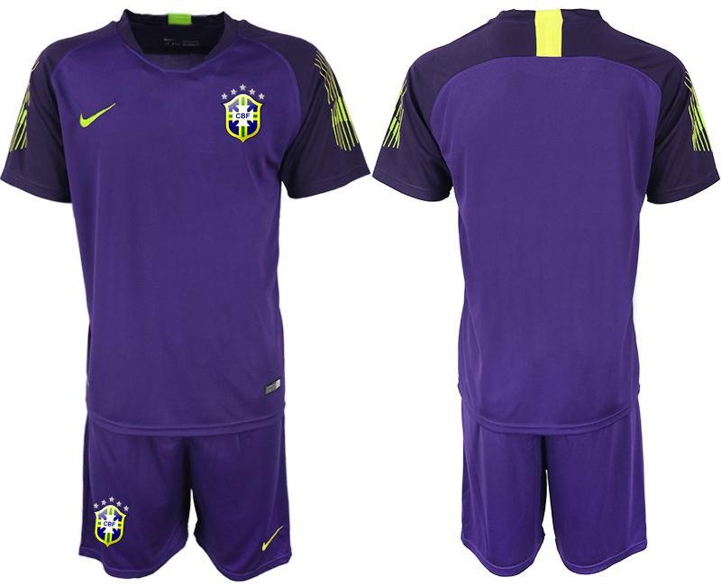 Men 2019-2020 Season National Team Brazil purple goalkeeper Soccer Jerseys