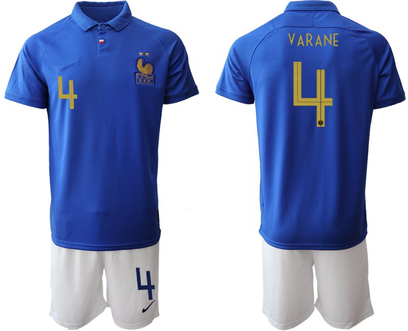 Men 2019-2020 Season National Team France Centenary edition suit 4 blue Soccer Jerseys