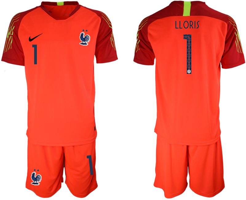 7ed9743781e Men 2019-2020 Season National Team France red goalkeeper 1 Soccer Jerseys