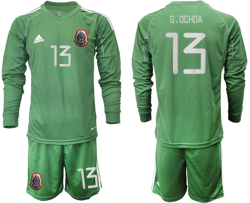 Men 2019-2020 Season National Team Mexico army green long sleeve goalkeeper 13 Soccer Jerseys