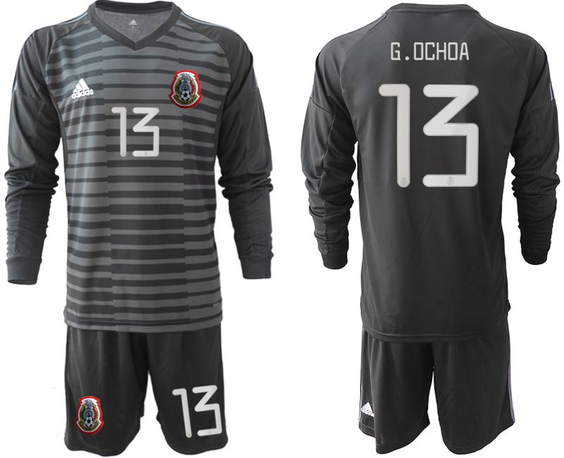 Men 2019-2020 Season National Team Mexico black long sleeve goalkeeper 13 Soccer Jerseys