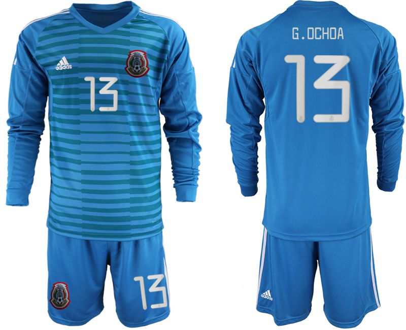 Men 2019-2020 Season National Team Mexico blue goalkeeper Long sleeve 13 Soccer Jerseys
