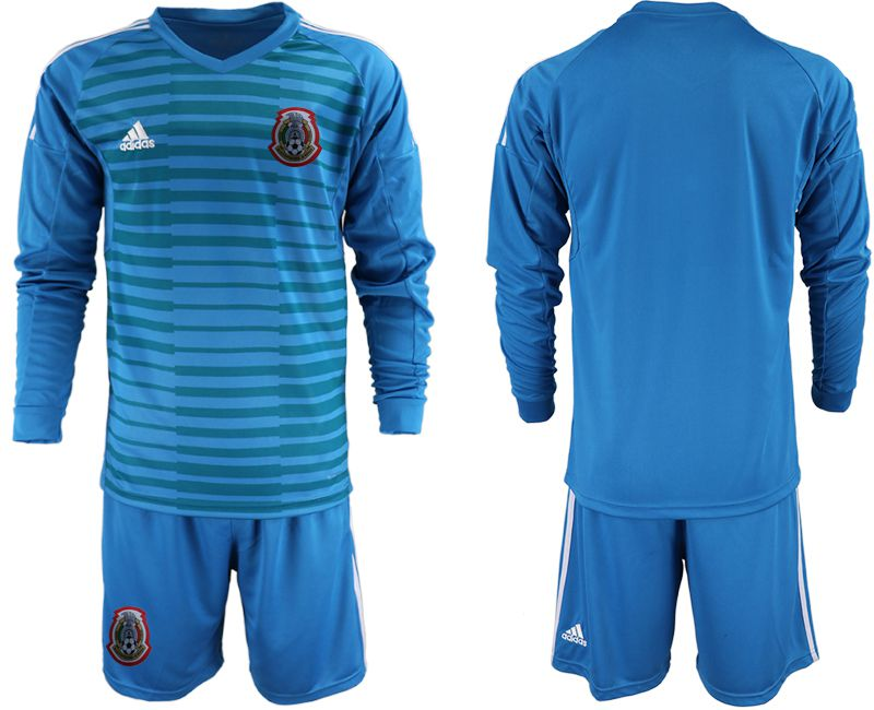 Men 2019-2020 Season National Team Mexico blue goalkeeper Long sleeve Soccer Jerseys