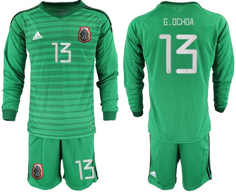 Men 2019-2020 Season National Team Mexico green long sleeve goalkeeper 13 Soccer Jerseys