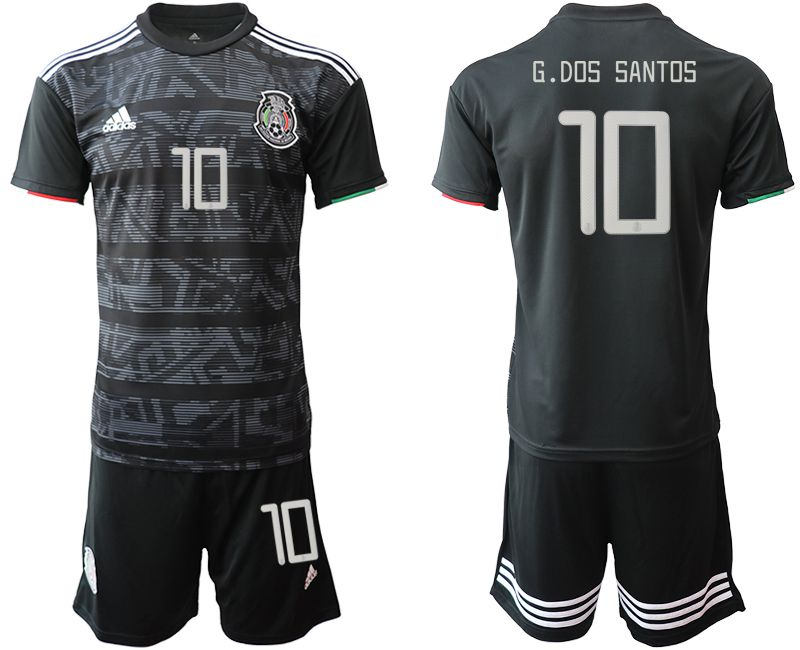 Men 2019-2020 Season National Team Mexico home 10 black Soccer Jerseys