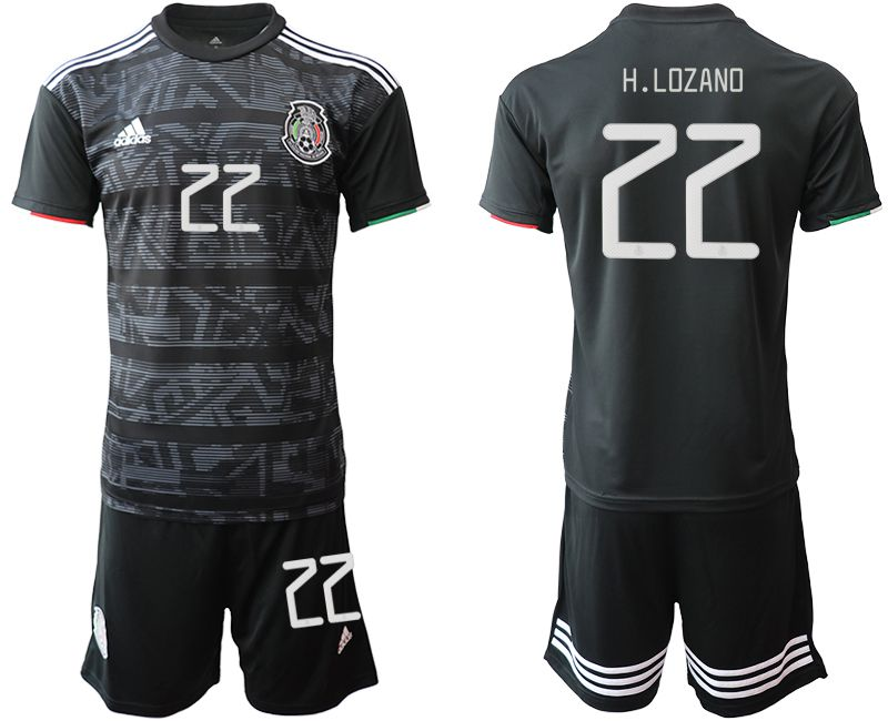 Men 2019-2020 Season National Team Mexico home 22 black Soccer Jerseys