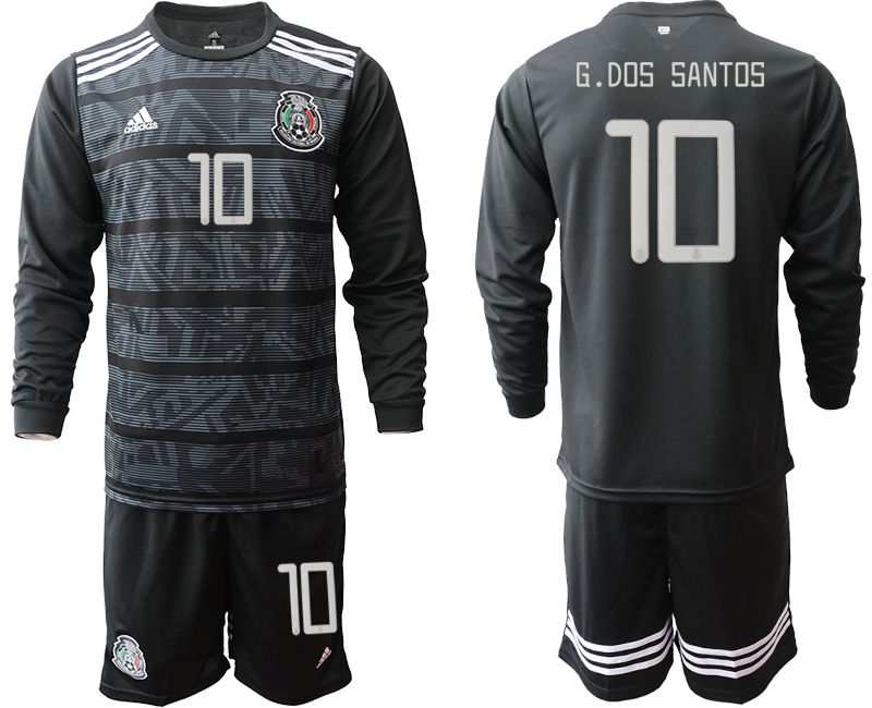 Men 2019-2020 Season National Team Mexico home long sleeve 10 black Soccer Jerseys