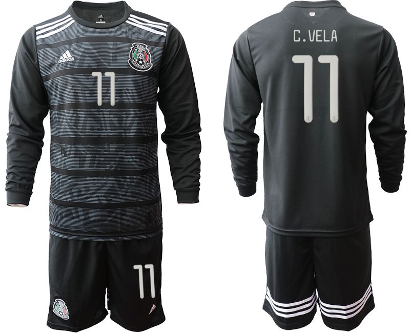 Men 2019-2020 Season National Team Mexico home long sleeve 11 black Soccer Jerseys