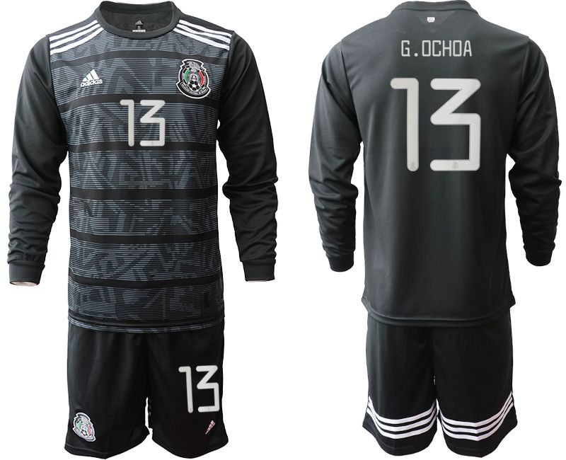 Men 2019-2020 Season National Team Mexico home long sleeve 13 black Soccer Jerseys