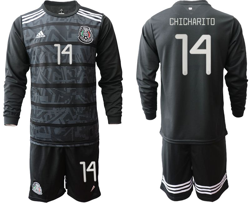 Men 2019-2020 Season National Team Mexico home long sleeve 14 black Soccer Jerseys