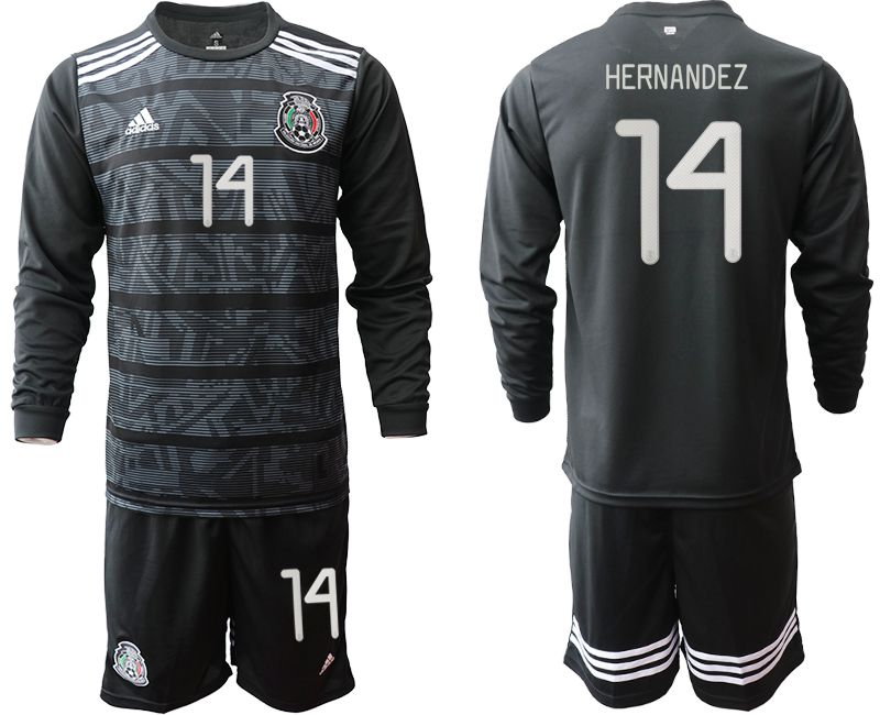 Men 2019-2020 Season National Team Mexico home long sleeve 14 black Soccer Jerseys1